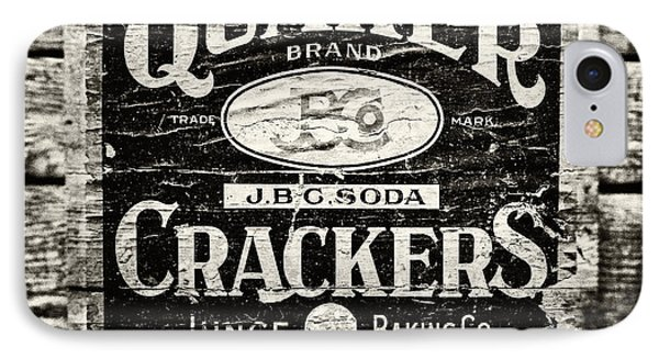 Quaker Crackers Rustic Sign For Kitchen In Black And White Phone Case by Lisa Russo