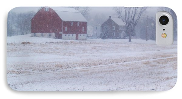 Quakertown Farm On Snowy Day Phone Case by Anna Lisa Yoder