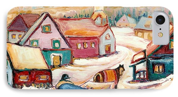 Quebec City Street Scene Caleche Ride In The Village IPhone Case by Carole Spandau
