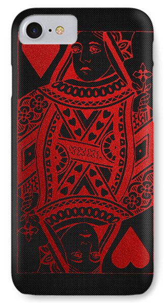 Queen Of Hearts In Red On Black Canvas   IPhone Case by Serge Averbukh