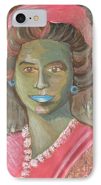 Queen With Hat IPhone Case by Mercedes  Hall