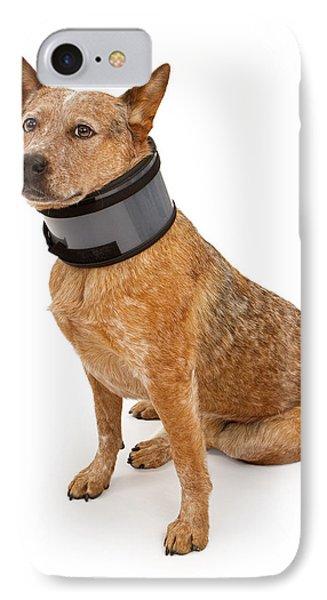 Queensland Heeler Dog Wearing A Neck Brace Phone Case by Susan Schmitz