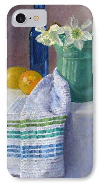 Quiet Moment- Daffodils In A Blue Green Pitcher With Lemons IPhone Case by Bonnie Mason