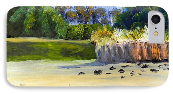 IPhone Case featuring the painting Quiet Sand By The Creek by Pamela  Meredith