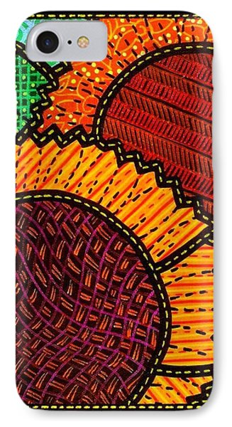 Quilted Sunflower Duo Phone Case by Jim Harris