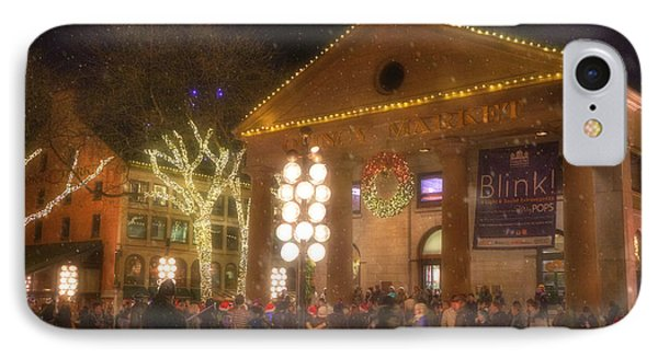 Quincy Market At Night With Snow - Boston IPhone Case by Joann Vitali