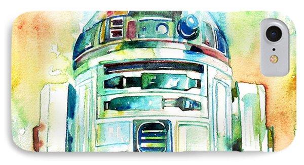 R2-d2 Watercolor Portrait IPhone Case