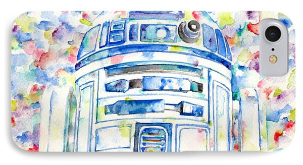 R2-d2 Watercolor Portrait.1 IPhone Case by Fabrizio Cassetta