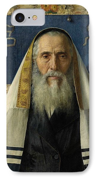 Rabbi With Prayer Shawl IPhone Case by Celestial Images