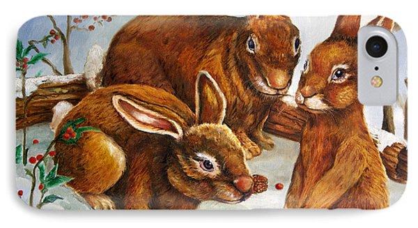 Rabbits In Snow Phone Case by Enzie Shahmiri