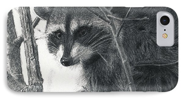 Raccoon - Charcoal Experiment Phone Case by Joshua Martin
