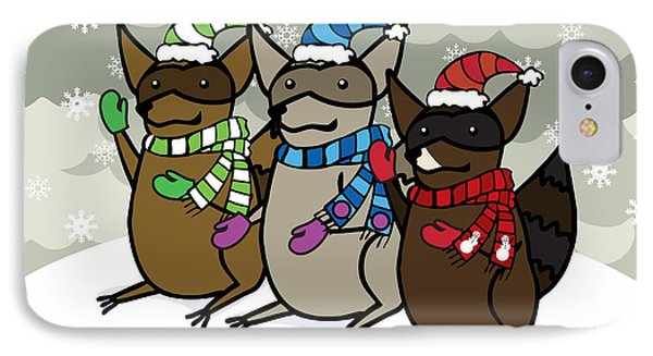 Raccoons Winter Phone Case by Christy Beckwith