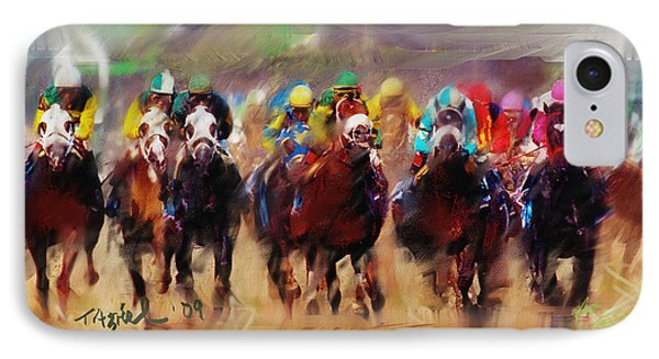Race To The Finish Line IPhone Case by Ted Azriel