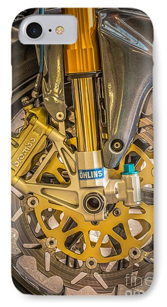 Racing Bike Wheel With Brembo Brakes And Ohlins Shock Absorbers Phone Case by Ian Monk
