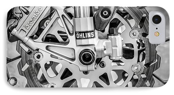 Racing Bike Wheel With Brembo Brakes And Ohlins Shock Absorbers - Square - Black And White Phone Case by Ian Monk