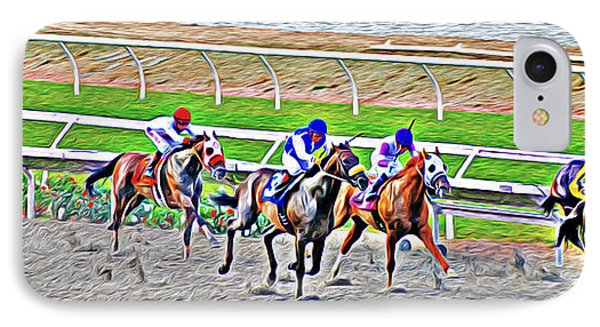 IPhone Case featuring the photograph Racing Horses by Christine Till