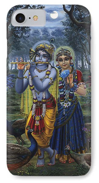 Radha And Krishna On Full Moon IPhone Case