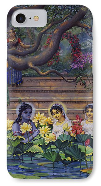 Radha And Krishna Water Pastime IPhone Case by Vrindavan Das