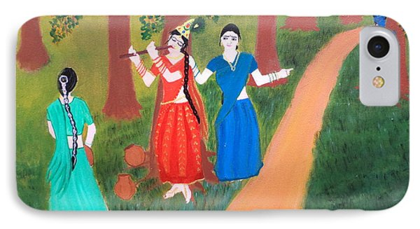 Radha Playing Krishna Phone Case by Pratyasha Nithin