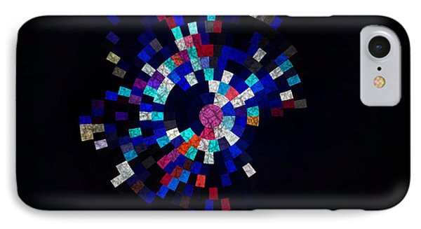 Radial Mosaic In Red White And Blue IPhone Case by Todd Soderstrom