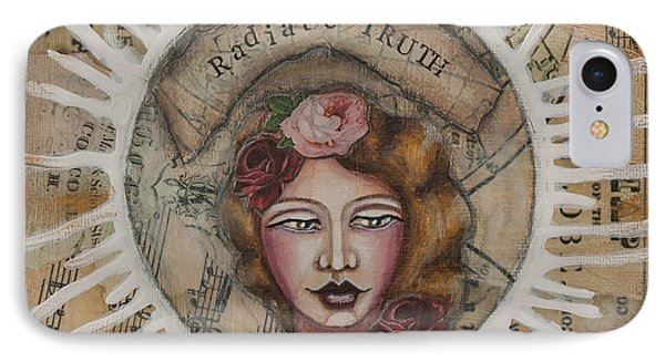 IPhone Case featuring the mixed media Radiate Truth Inspirational Folk Art by Stanka Vukelic