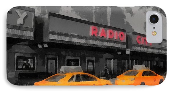 Radio City Music Hall And Taxis Pop Art IPhone Case by Dan Sproul