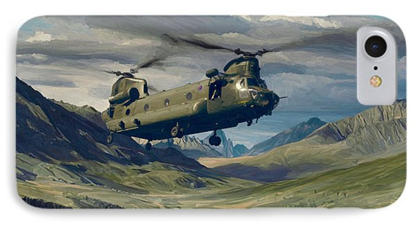 IPhone Case featuring the painting Raf Chinook Ch-47 On Exercise by Nop Briex