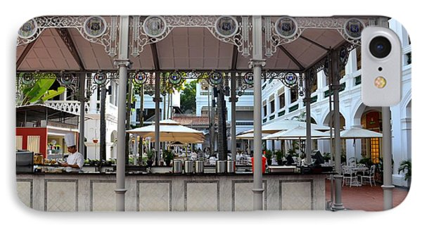 Raffles Hotel Courtyard Bar And Restaurant Singapore IPhone Case by Imran Ahmed