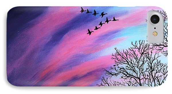 Raging Sky And Canada Geese IPhone Case by Barbara Griffin