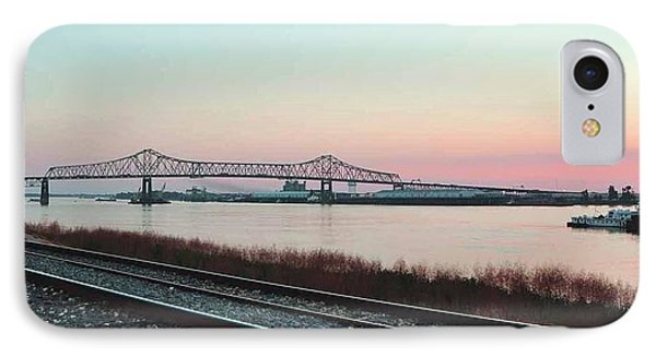 IPhone Case featuring the photograph Rail Along Mississippi River by Charlotte Schafer