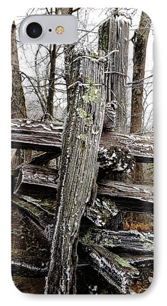 Rail Fence With Ice IPhone Case by Daniel Reed