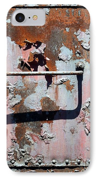 IPhone Case featuring the photograph Rail Rust - Abstract - Make It Pink by Janine Riley