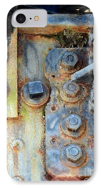 IPhone Case featuring the photograph Rail Rust - Abstract - Nuts And Bolts by Janine Riley