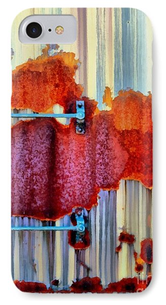 IPhone Case featuring the photograph Rail Rust - Abstract - Studs And Stripes by Janine Riley