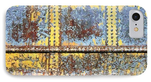 IPhone Case featuring the photograph Rail Rust - Abstract - Yellow In 3 by Janine Riley