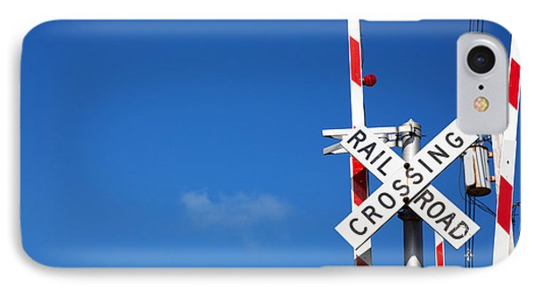 Railroad Crossing Sign IPhone Case by Jane Rix