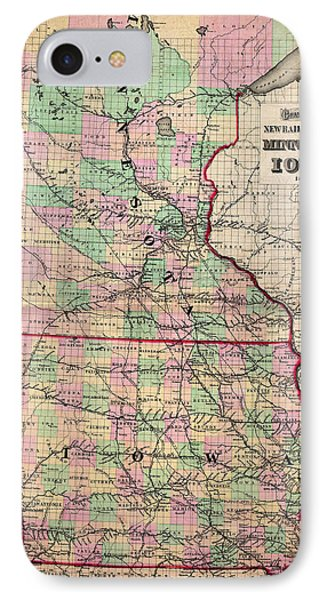 Railroad Map Of Minnesota And Iowa 1873 IPhone Case