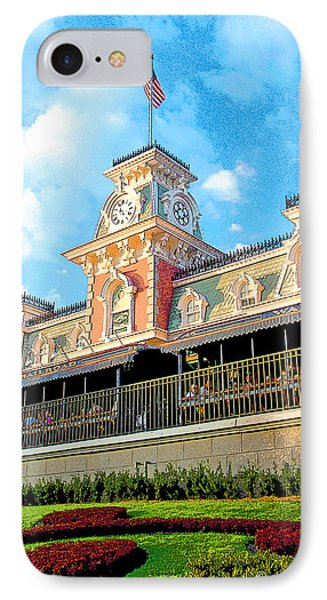 Railroad Station Magic Kingdom Walt Disney World IPhone Case by A Gurmankin