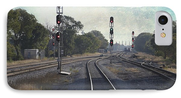 Railroad Tracks Metra South West Service Textured IPhone Case by Thomas Woolworth