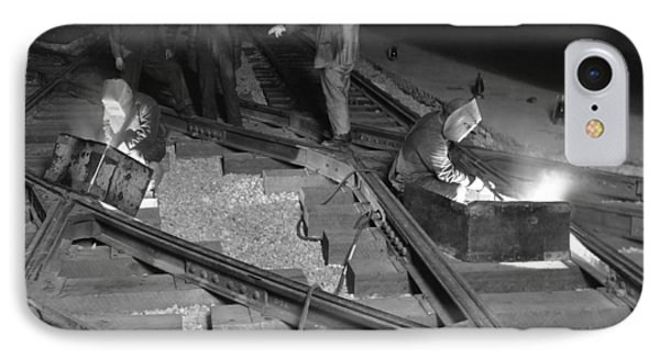 Railroad Workers Welding Track IPhone Case by Underwood Archives