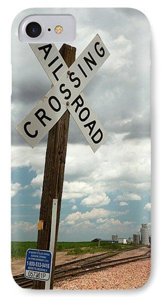Railway Crossing And Grain Elevators IPhone Case by Jim West