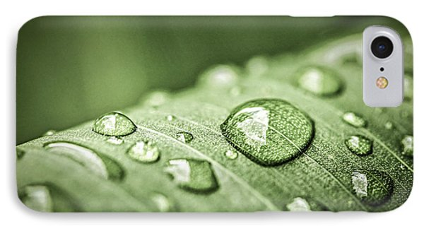 Rain Drops On Green Leaf IPhone Case