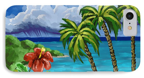IPhone Case featuring the painting Rain In The Islands by Tim Gilliland