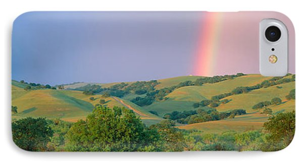 Rainbow And Rolling Hills In Central IPhone Case by Panoramic Images