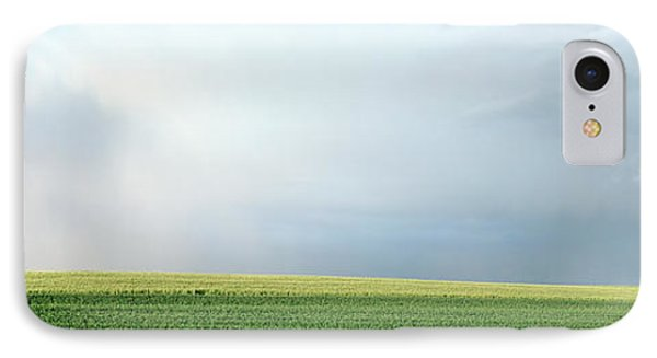 Rainbow And Storm Clouds Over A Field IPhone Case by Panoramic Images
