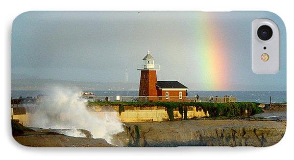 Rainbow At Santa Cruz Lighthouse IPhone Case by Randy Straka