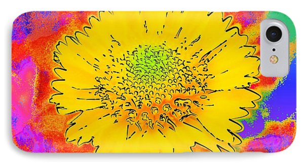 IPhone Case featuring the painting Rainbow Colored Sunshine Flower- Because I'm Happy by David Mckinney