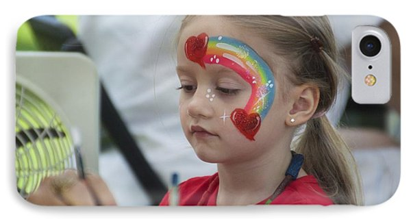 Rainbow Face Painting IPhone Case by Floyd Snyder