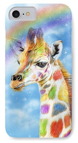 IPhone Case featuring the mixed media Rainbow Giraffe by Carol Cavalaris