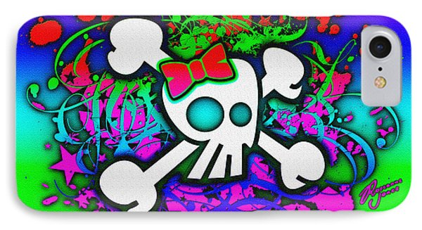 Rainbow Girly Skull And Crossbones IPhone Case